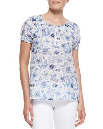 Masha Floral-Print Short-Sleeve Top