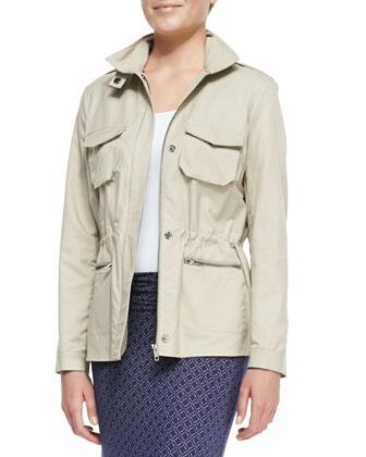 Malinia Drawstring-Waist Anorak Jacket & Kalani Ruch-Waist Maxi Skirt