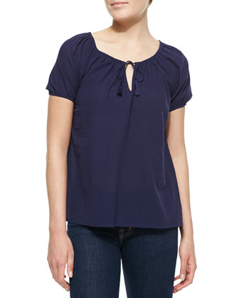 Veloria Crepe Short-Sleeve Top, Dark Navy