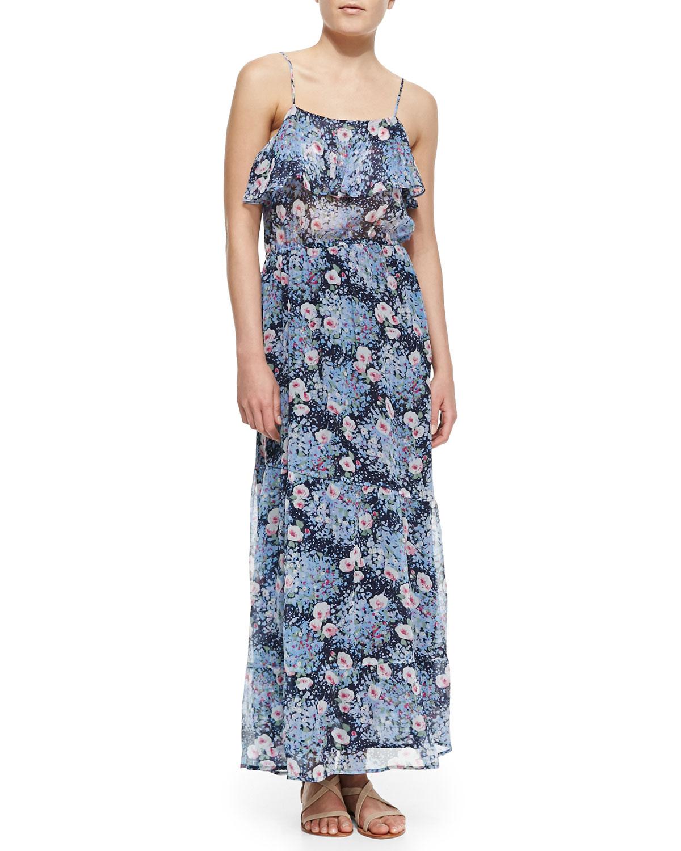 Womens Rominette Floral Print Silk Maxi Dress   Joie   Dark navy (SMALL)