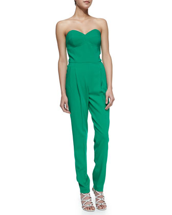 Strapless Sweetheart Jumpsuit, Emerald