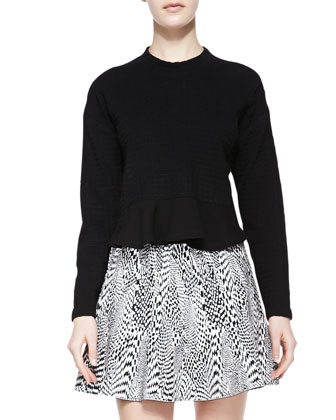 Snowe Insert Knit Sweater & Techno Tubular Jacquard Skirt