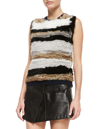 Keaton Twill Long Cargo Jacket, Striped Fur Sleeveless Pullover & Leather ...