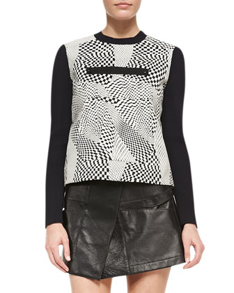 Technotronic Jacquard Long-Sleeve Pullover & Leather Toph Military Mini Skirt