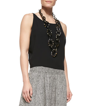 Button-Front Draped-Back Cardigan, Silk Georgette Short Tank & ...