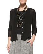 Button-Front Draped-Back Cardigan