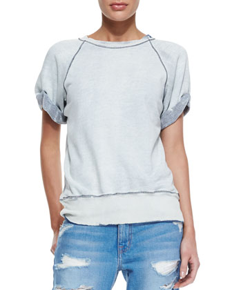 The Rolled-Sleeve Distressed Sweatshirt