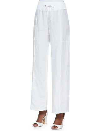 Organic Linen Wide-Leg Pants, White
