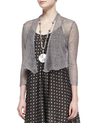 Precious Metal Cardigan & Silk Ikat Dot Cami Dress
