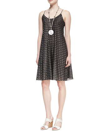 Silk Ikat Dot Cami Dress, Ash