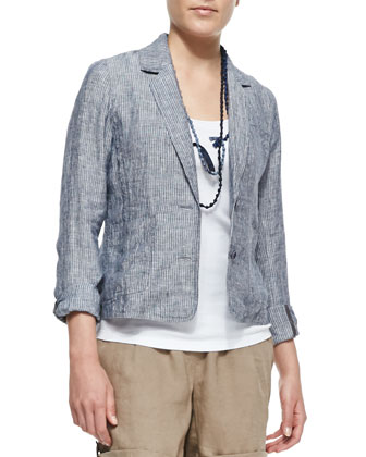 Chambray Railroad Stripe Jacket, Organic Cotton Slim Tank & Silk Beaded ...