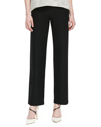 Floating Mesh Weave Top & Washable-Crepe Straight-Leg Pants