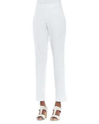 Organic Stretch Slim Zipper-Cuff Trousers, Petite