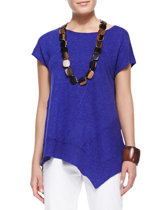 Cap-Sleeve Linen Asymmetric Top, Blue Violet