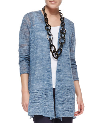 Boucle Stripe Cardigan, Chambray, Women's