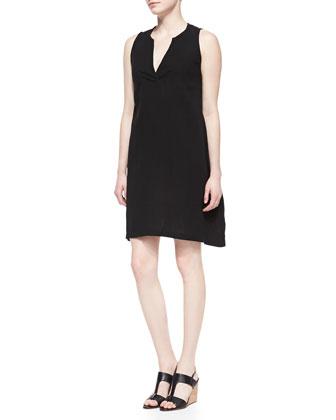 Split-Neck Sleeveless Dress, Women's