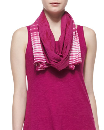Organic Cotton Hemp Twist Sleeveless Dress & Shibori Cracked-Cotton Scarf