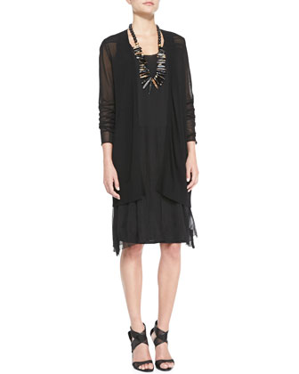 Long Mesh-Panel Cardigan & Gathered Tank Dress