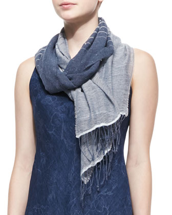 Sleeveless Printed Bias Dress & Linen/Denim Striped Scarf