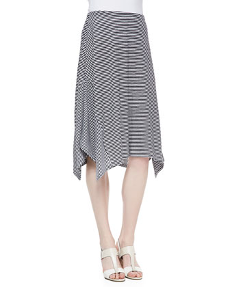 Organic Linen Asymmetric Sleeveless Top & Organic Linen Stripe Skirt, Petite