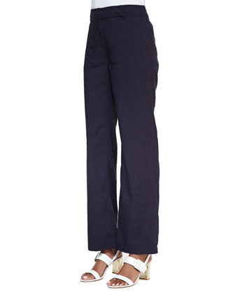 Linen-Blend Straight-Leg Trousers, Midnight, Women's