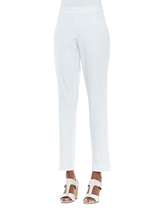Lightweight Organic V-Neck Top, Organic Stretch Slim Zipper-Cuff Trousers & ...