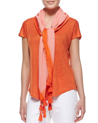 Organic Cotton Hemp Twist Sleeveless Dress & Color-Tipped Tassel Scarf, Petite