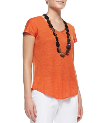 Lightweight Organic V-Neck Top, Petite