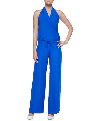 Sleeveless Drawstring-Waist Halter Jumpsuit