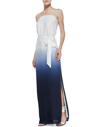 Strapless Ombre V-Back Gown, Swan/Midnight