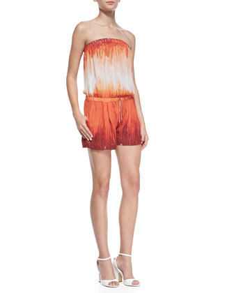 Strapless Jumpsuit with Summer Shorts, Orange/Cream