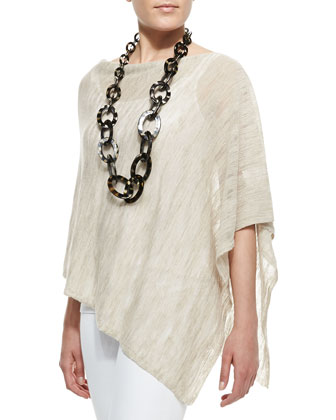 Hazy Striped Linen Poncho, Women's