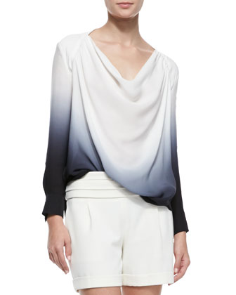 Long-Sleeve Cowl-Neck Blouse with Cutout Back & Cummerbund-Waist Shorts
