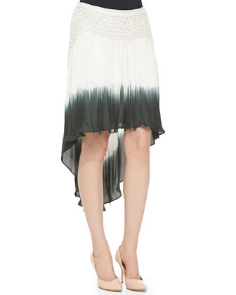 Asymmetric Twist Tank Top & Dip Dye Fringe-Detail Silk Skirt