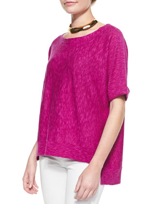 Boxy High-Low Organic Linen-Cotton Top, Petite