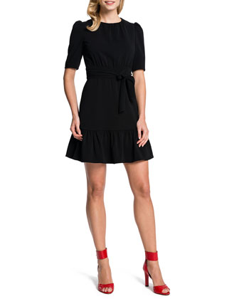 Half-Sleeve Tie-Waist Dress
