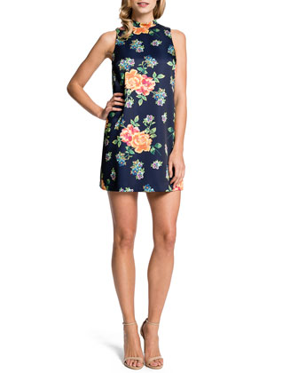 Sleeveless Floral-Print Minidress