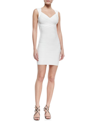 Queen Liz V-Neck Short Bandage Dress