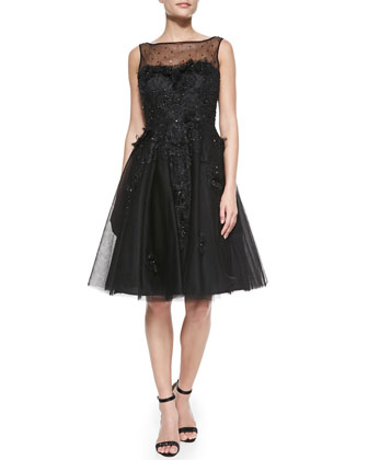 Sleeveless Illusion Overlay Flare Cocktail Dress