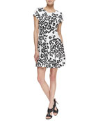 Fawn Siberian Snow Leopard Print Dress, Black/White