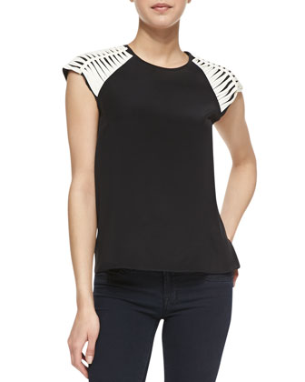 Slashed Shoulder Contrast Silk Top, Black