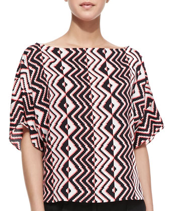 Geometric-Print Dolman-Sleeve Top & Stella Cuffed Linen-Blend Shorts