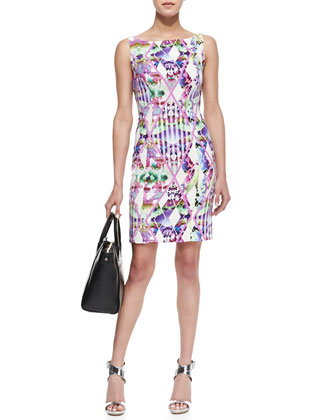 Hypnotic Print Slim Sheath Dress
