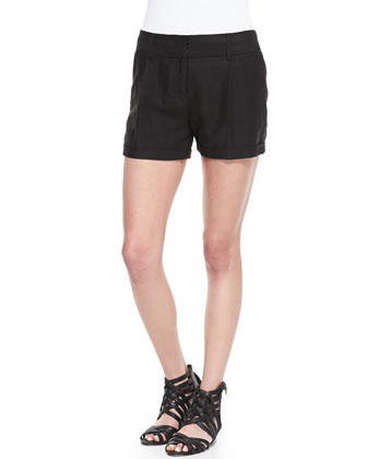 Geometric-Print Dolman-Sleeve Top & Stella Cuffed Linen-Blend Shorts