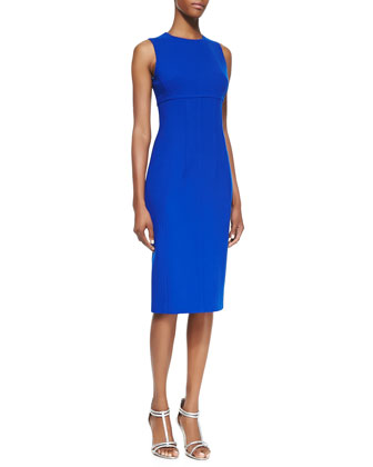 Stretch Boucle Crepe Sleeveless Dress, Sapphire