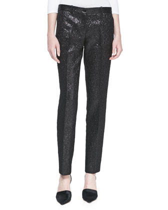 Crepe Metallic Crushed Pants, Black