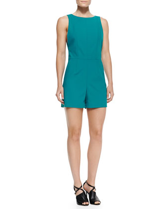 Stretch Cotton Playsuit with Keyhole Back, Teal