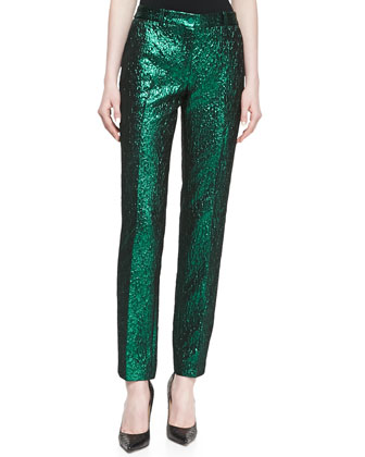 Metallic Crushed Pants, Emerald