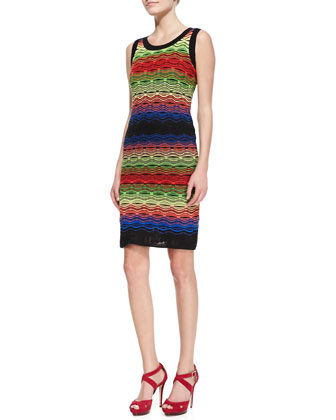 Sleeveless Colorblock Ripple-Stitch Dress