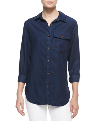 Unity Long Sleeve Dark Denim Shirt, Desiree
